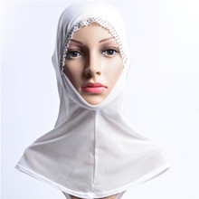 summer new arrival arab lace side hollow yarn plain color muslim hijab