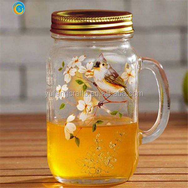 metal Cap Material and Glass Body Material mason jar drinking glass