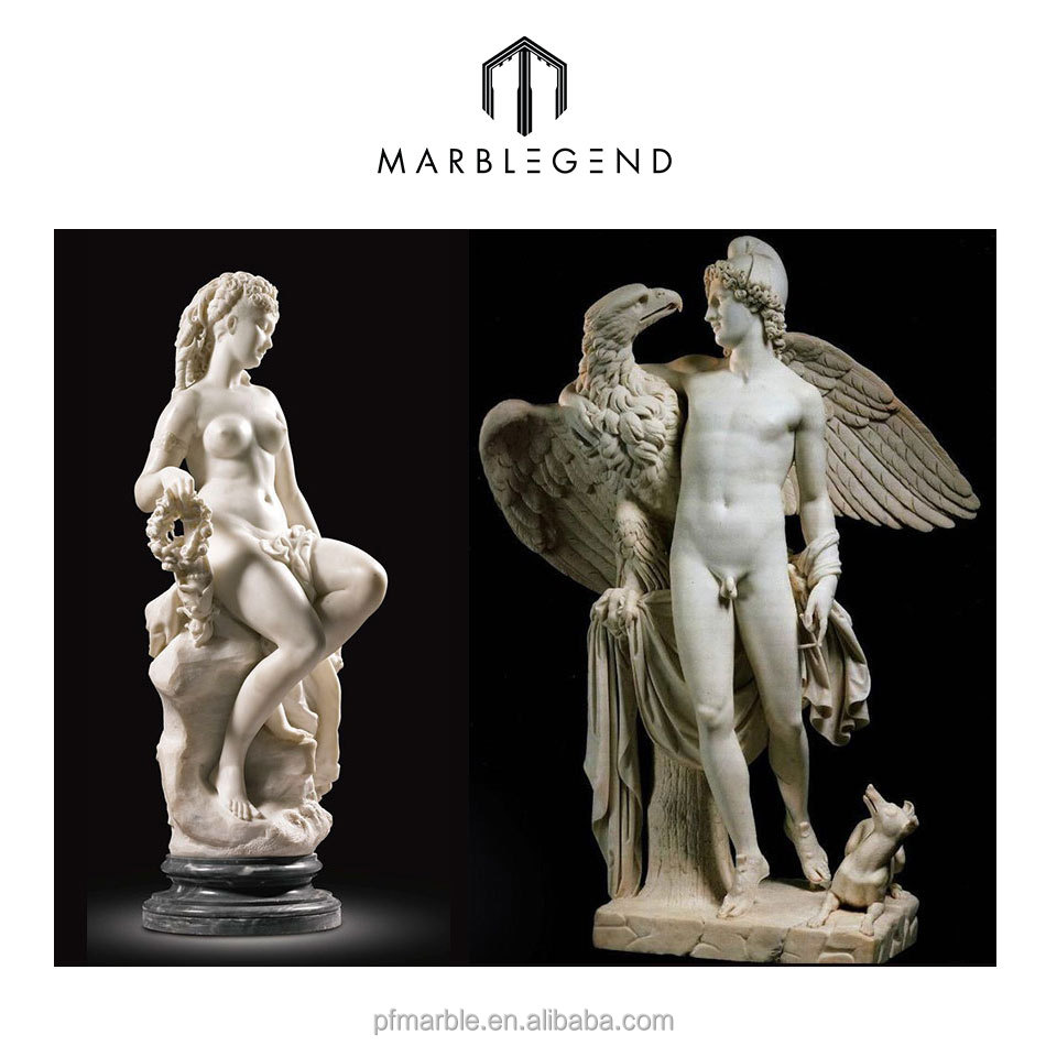 Hand caved nude man and woman marble sculpture
