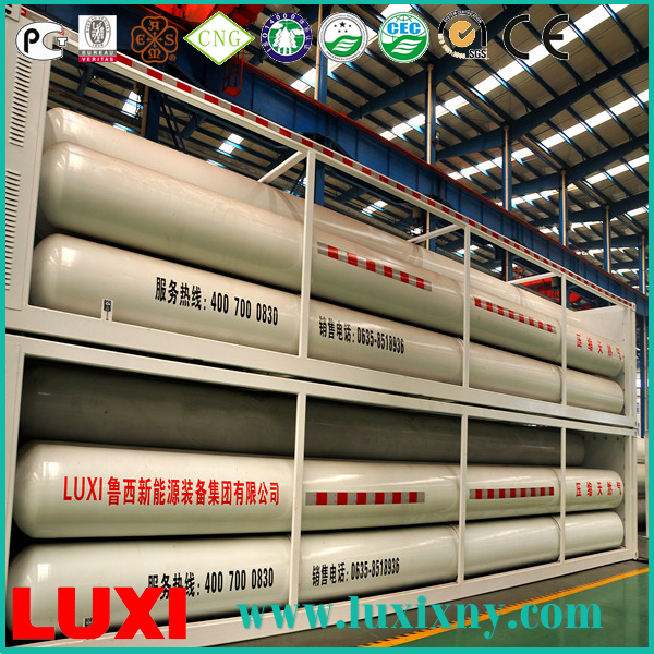 mobile jumbo tube container skid 25Mpa cng tube trailer gas fuel tanks , cng cylinder type 1