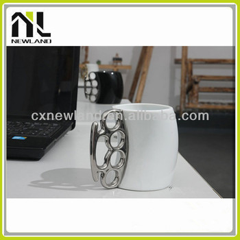 Fist Shape Handle Unique Ceramic Blank Funny Shaped Coffee