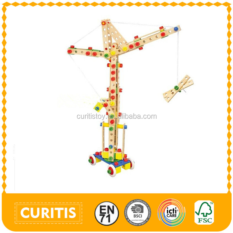 china online shopping new product kids learning toys 270 pcs DIY children educational toys wooden nut combination constructor