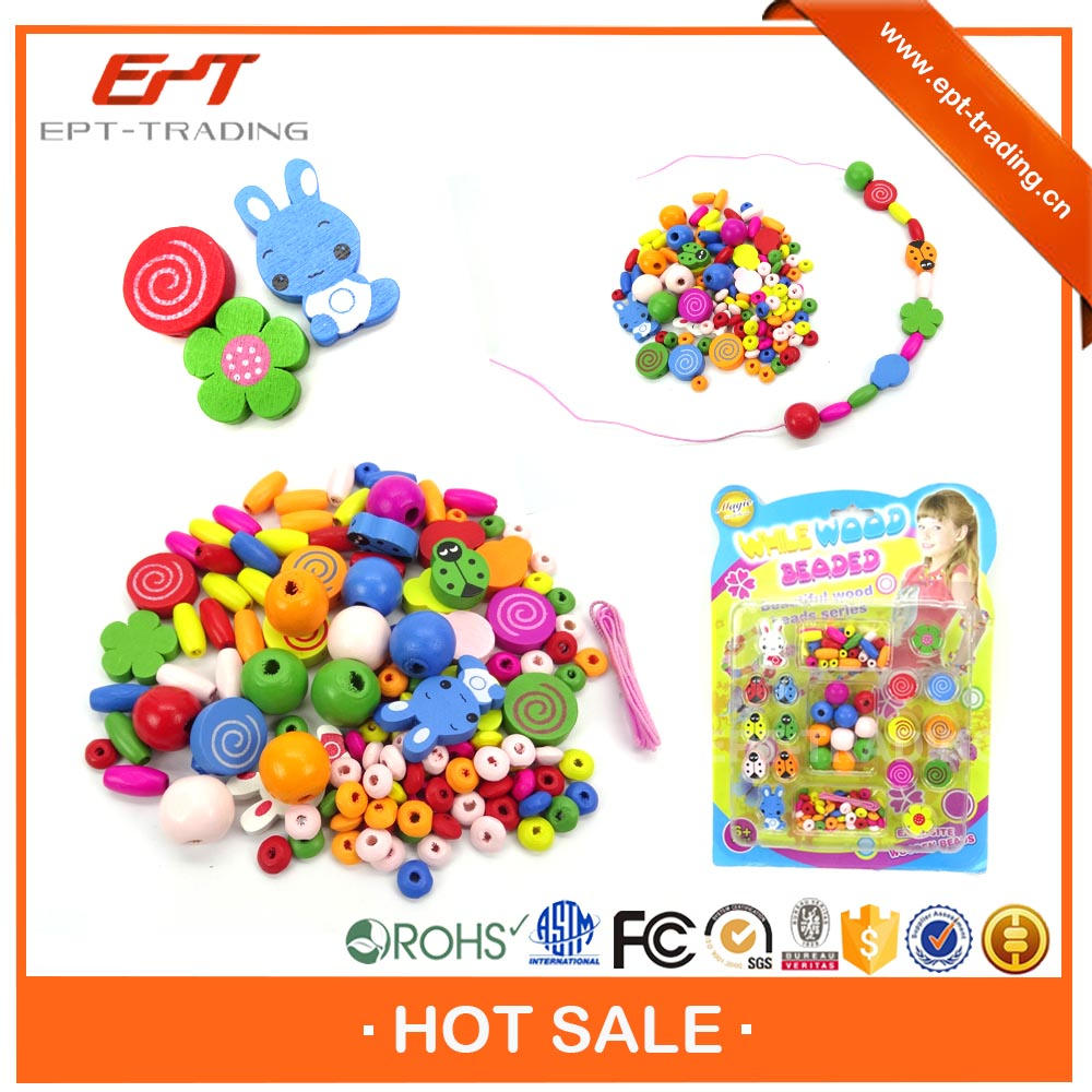 DIY jewelry bead wholesale wooden bead toy for education