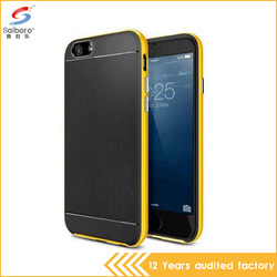 Wholesale TPU PC Double Layer Brushed Hair Line Soft Case For iphone 6 Free Sample