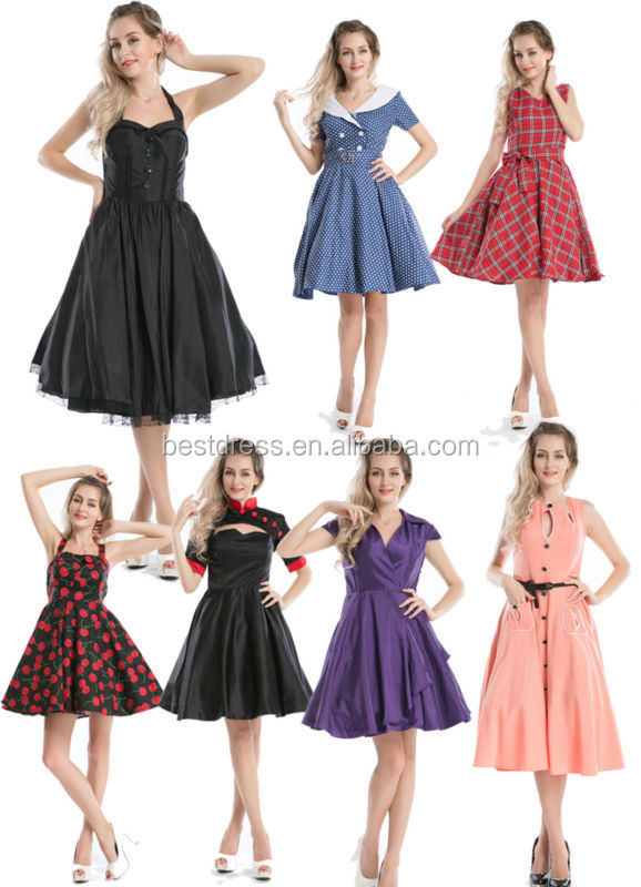 2014 wholesale checkout cheapest 50's vintage jive pin up retro colorful polk dots swing porm dress