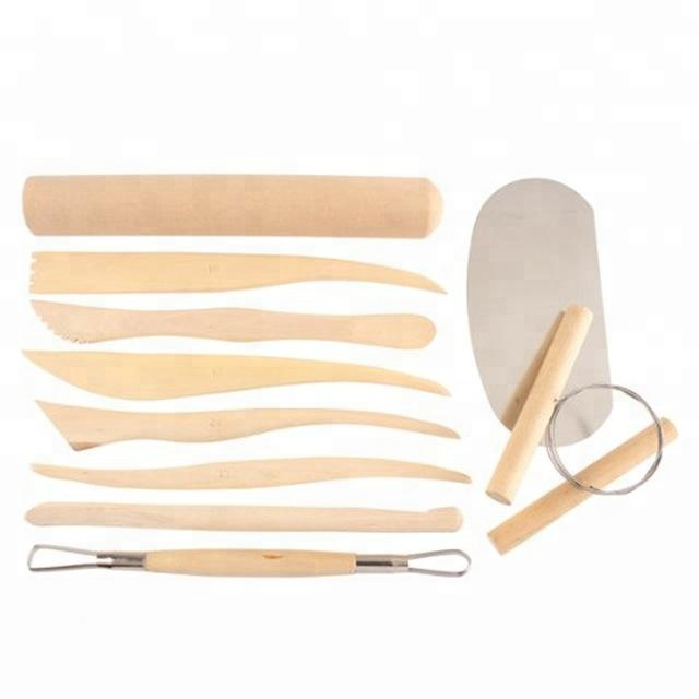 Hot <strong>Sale</strong> 10pcs Pottery Art DIY Tool Wooden Pottery Clay Carving Cutter Ceramic Modelling Sculpting Tool Sets