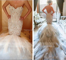 Custom Jaton Couture Mermaid Sweetheart Embroidered Beaded Backless Ruffled Tulle Cathedral Train Wedding Dresses FMG10