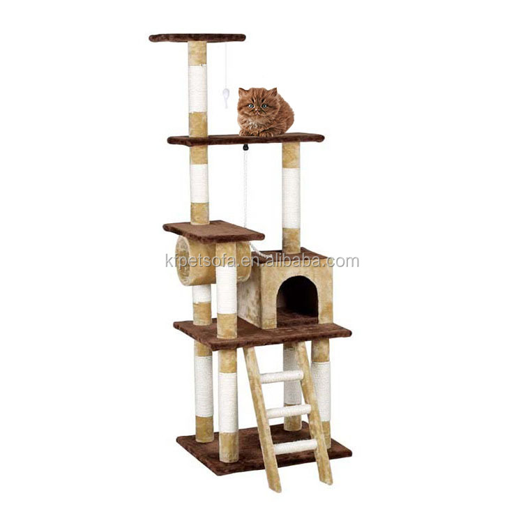 Cat Jumping Toy Scratching Wood Climbing Tower Banana Leaf Cat Tree