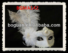 Venetian Masquerade Ball Rhinestone Ostrich Feather Mask White