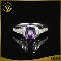 2016 new product exquisite women square purple stone engagement ring diamond