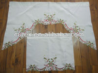 Christmas Kitchen Curtains with Christmas Leaves and Belts