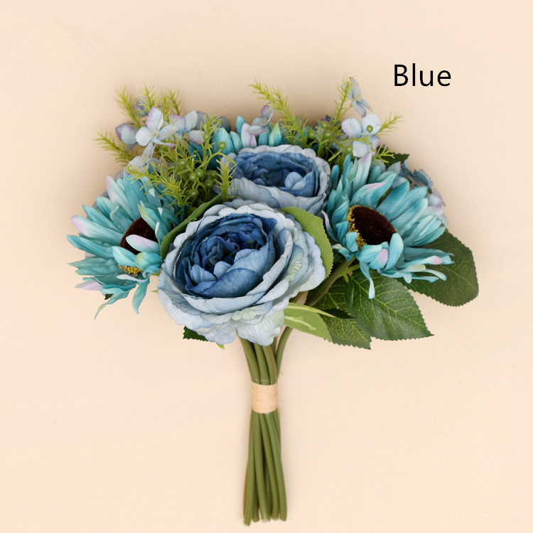 Decorative indoor flower home decorations DIY marriage decoration artificial rose peony bouquet blue silk flowers <strong>wedding</strong>