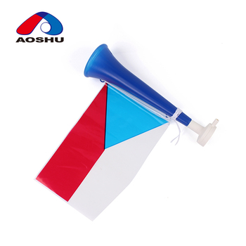 Kids educational musical instrument plastic mini football fan trumpet toy with flag