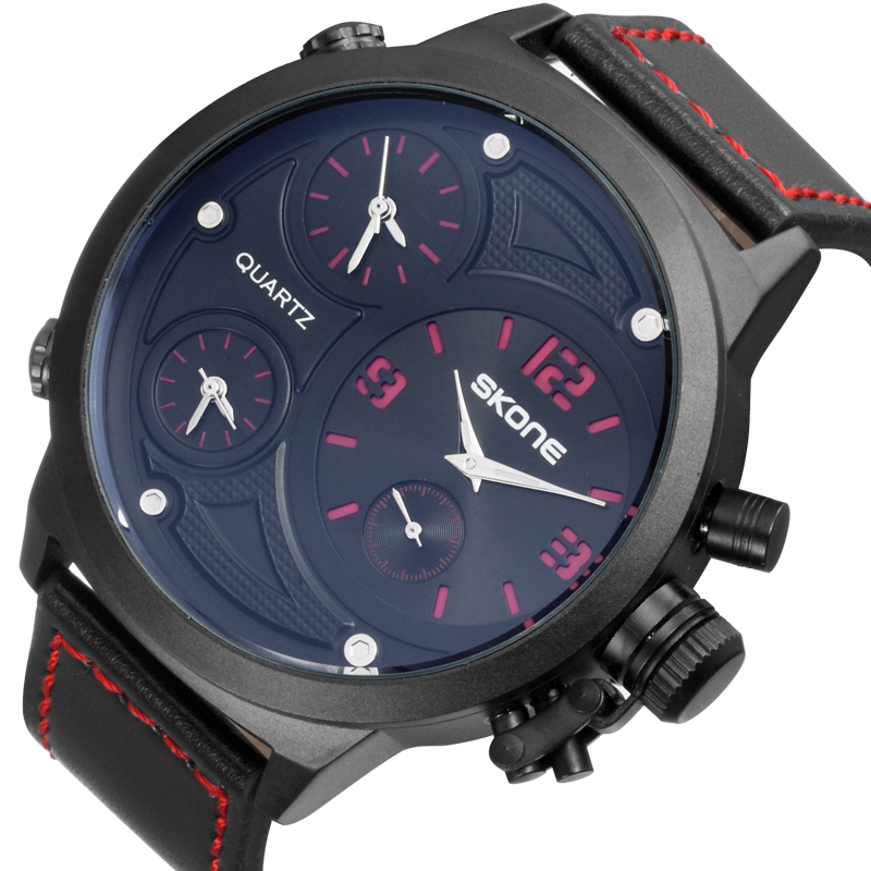 Skone 9423 Fashion Sports Quartz Multiple Time Zone IP Black Case Watches for Mens