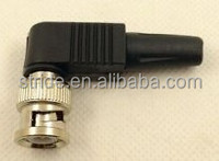 black plastic tail right angle BNC male solderless connector for RG58 RG59 cable