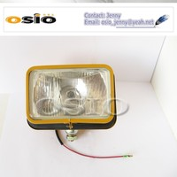 5' square YELLOW COLOR IRON Engineering head light ,Halogen Sealed Beam , SEMI-SEALED BEAM Install HID,H4