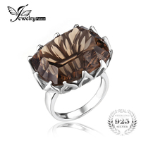 JewelryPalace Huge Unique Concave Smoky Quartzs Ring Solid 925 Sterling Silver Jewelry for Women Nice Gift