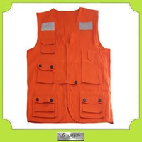 Custom design cotton work multi pocket vest with many pockets