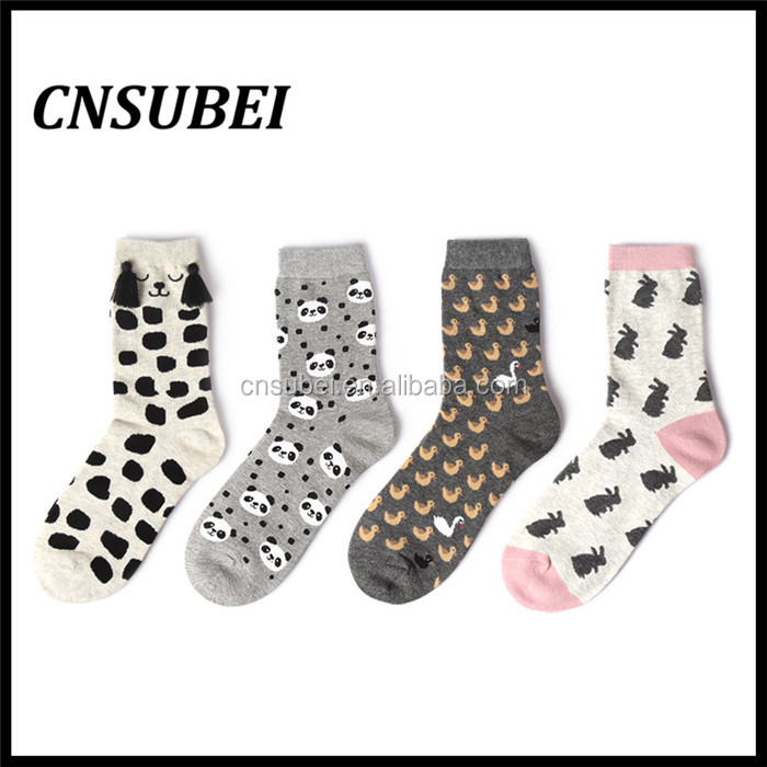 Shaoxing socks factory cute 3D cozy cartoon design young girl teen tube cartoon socks for wholesale