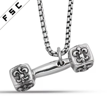OEM Factory Free Sample Wholesale Stainless Steel dumbbell engraved flower pendant necklace fitness jewelry for men
