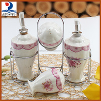 Beautiful ceramic oil and vinegar/salt and pepper storage bottles and jars for kitchenware