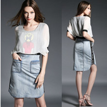 Short sleeve high quality ladies lolita dress with denim skirt, printed two pieces jeans dress with pocket