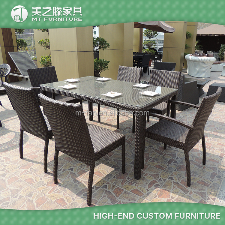 Aluminum frame 6 Seater Rattan Restaurant Dining Chairs Set Rainning Proof Garden Outdoor Furniture