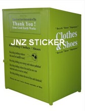 Sticker for Rustproof steel clothing donation collection bin