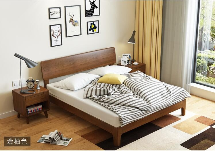 Nordic bedroom simple design latest wood double bed designs