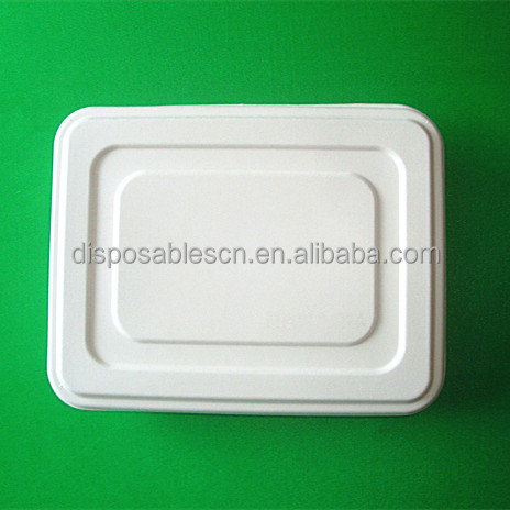 Biodegradable customized 5 Compartment sugarcane Pulp Fiber Tray with cover