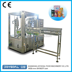 Milk pouch packing machine/fruit pouch packing drinks with spout at the top/mixing fruit drinks packing machine