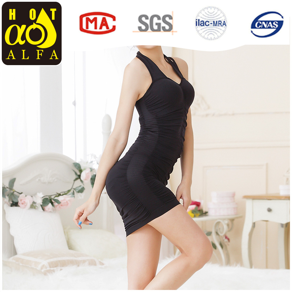 SEXY GOWN LONG VEST DRESS FOR WOMEN BLACK Y06