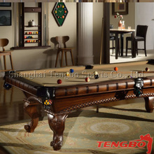 2015 best selling beautiful design TB-US003 hand carv wood carv pool table
