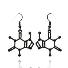 Gold Plated Punk Style Geometric Creative Eardrop Fashion Chemical Formula Stick Shaped Black Metal Earrings