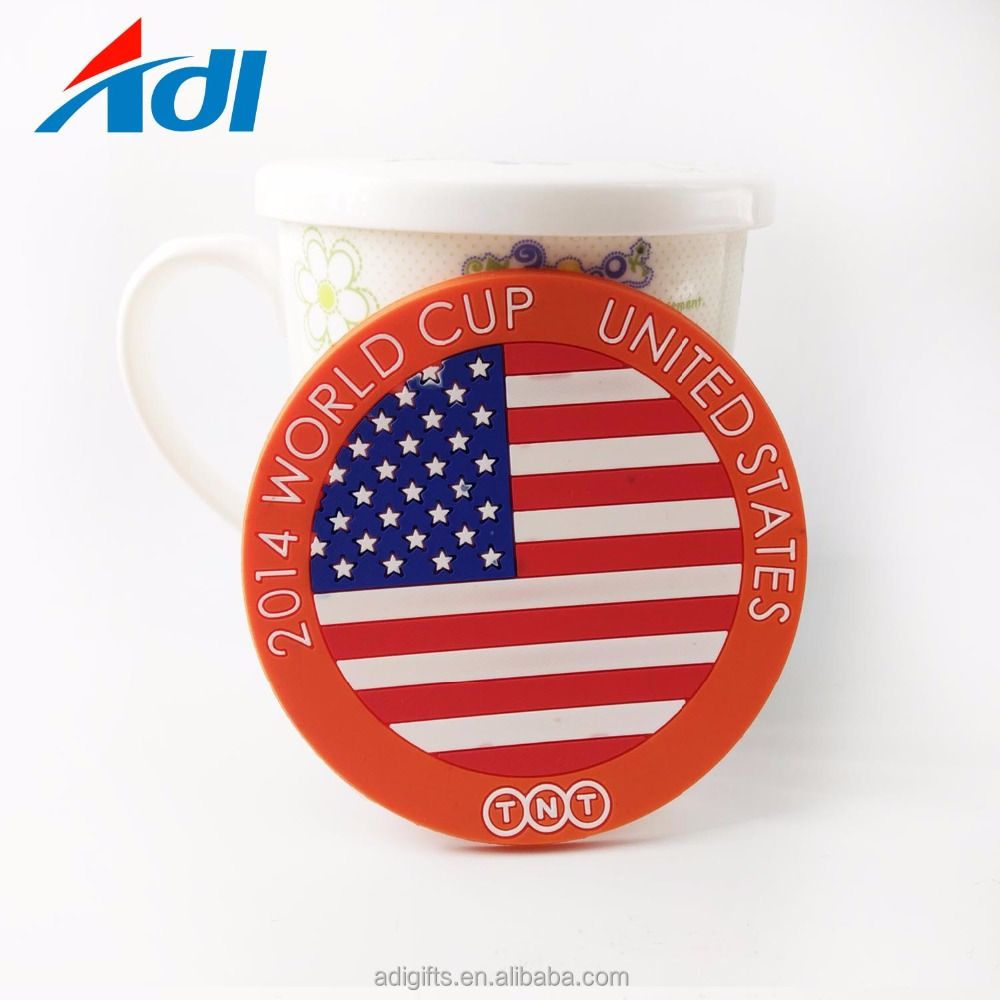 Free sameple custom country flag soft pvc colorful beer coasters for drink