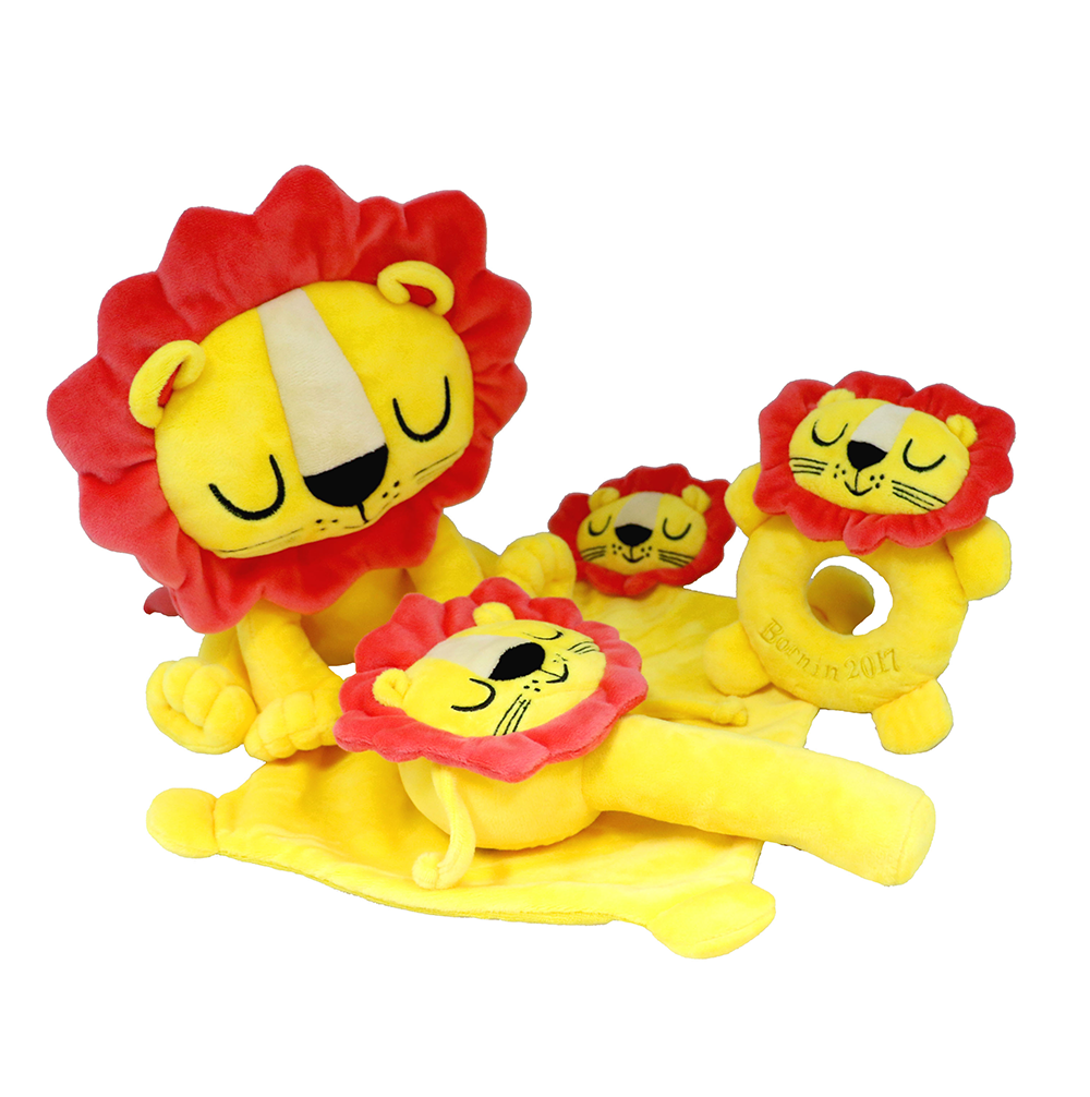 Custom stuffed lion baby plush rattle soft baby rattle