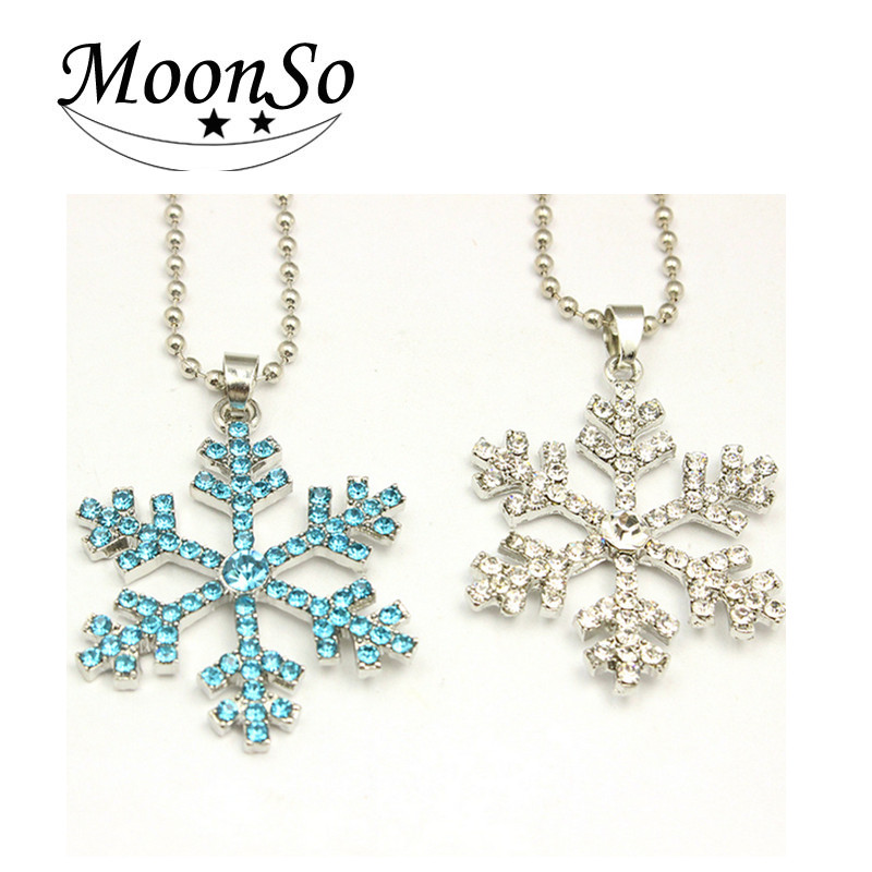 Hot Selling Wholesale christmas gift fashion snowflake Diamond Pendant charm jewelry For Women Moonso A4635
