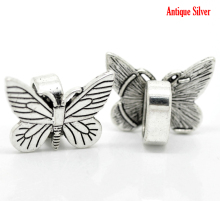 Custom Design dull silver tone Butterfly Metal Slider Beads for Leather Bracelet