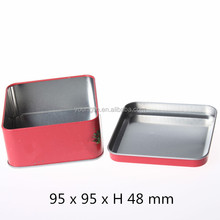 Red square cookie tin metal container box