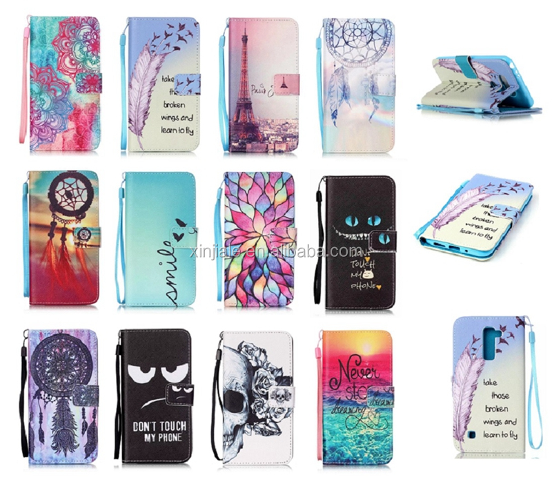 Wholesale Flip Magnetic Leather Wallet Case Flower Printing Cartoon Cover Phone Shell For LG K10 Mobile Phone Accessories
