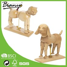 Rotatable Artist Drawing wood craft animals, carved wooden cat Manikin, Wooden Manikin for home decorate Wholesale