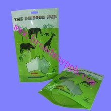 front window hang hole top heat seal plastic stand up packaging pouch for beef jerky
