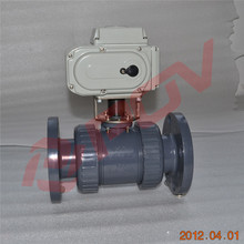 light weight UPVC plastic flange ball valve with electric actuator