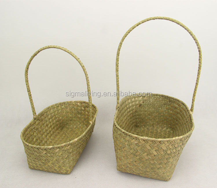 Nordic style yellow seaweed pot hand-woven cabas