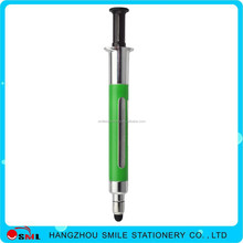plastic Syringe Injection Shape Needle Ball Pen with highlighter for Doctors gift
