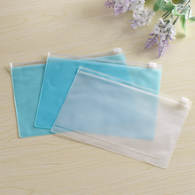 Manufacturers wholesale plastic zipper file bag PVC bag transparent frosted seal paper pencil case
