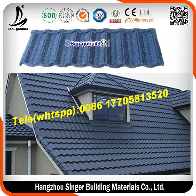 Blue stone coated roofing sheet/metal roofing shingle
