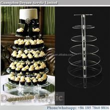 Hot sale clear plastic tall tier cake stand for cupcakes