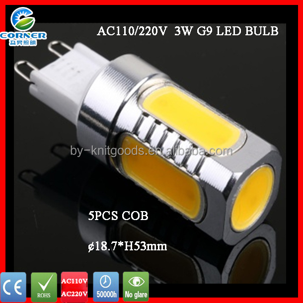 2015 new model COB Aluminum <strong>alloy</strong> G9 LED lamp LED light 3W with CE ROHS