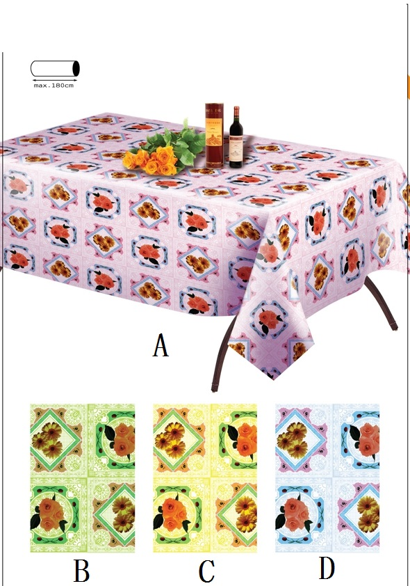 promotional food grade pvc printed flannel back plastic tablecloths